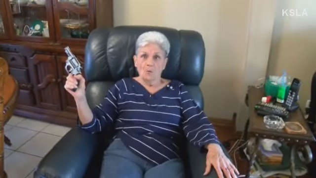 Granny surprises armed robber with gun of her own