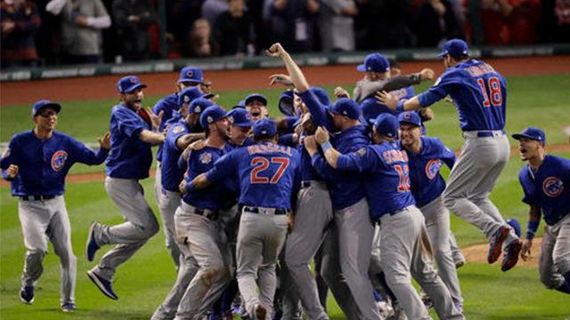 (AP Photo/Charlie Riedel, File). FILE - In this Nov. 3, 2016, file photo, the Chicago Cubs celebrate after Game 7 of the Major League Baseball World Series against the Cleveland Indians, in Cleveland.