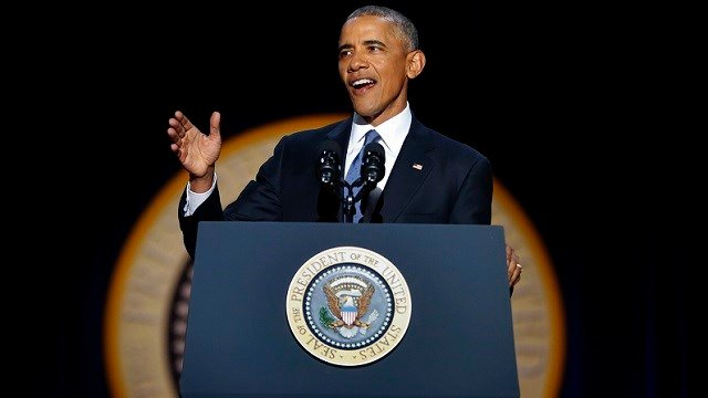 President Barack Obama speaks during his farewell address at McCormick Place in Chicago, Tuesday, Jan. 10, 2017. (AP Photo/Pablo Martinez Monsivais)