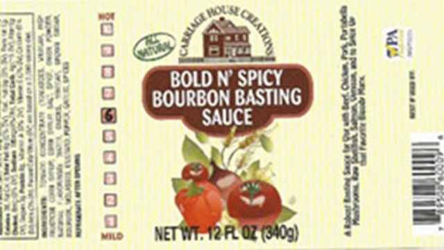 Carriage House Creations has issued a voluntary product recall on all Bourbon Basting Sauces, and Hot Barbecue Sauce, due to undeclared soy and peanut ingredients found in the Worcestershire Sauce. (Photo: FDA)