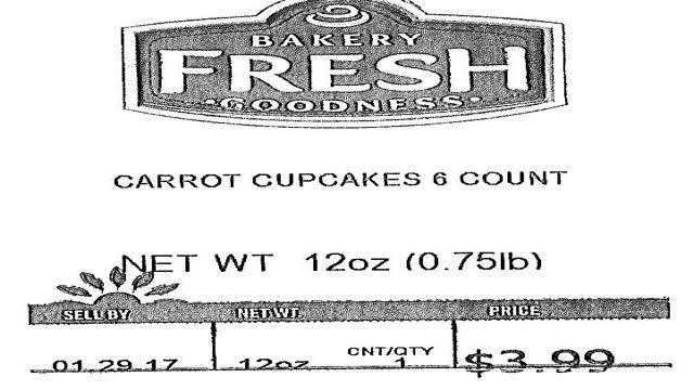Fred Meyer Stores have recalled Bakery Fresh Goodness Carrot Cupcakes sold in its retail stores because the product may contain milk and soy not listed on the label.  (Photo: FDA)