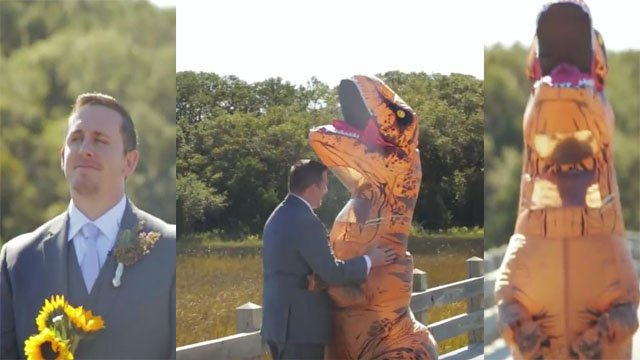 They say the T-Rex was the king of the dinosaurs, but this bride might just qualify as queen. (Photo: YouTube, IAMAL,  Paul Seiler Photography and Jon Clark Weddings)
