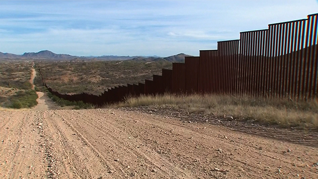 The wall along the southern border of the United States where it meets Mexico (CNN).
