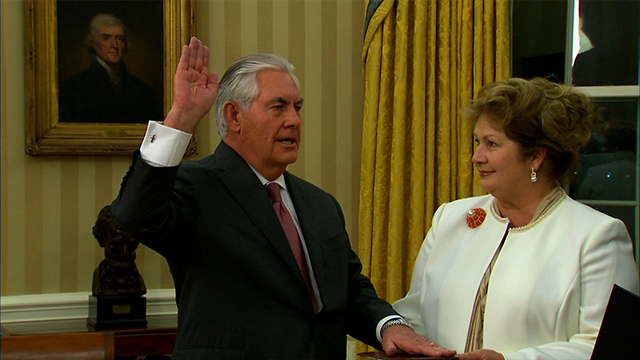 (CNN) Rex Tillerson was sworn in as the Trump administration's secretary of state Wednesday evening. He was given the oath of office by Vice President Mike Pence. In remarks before the swearing-in...