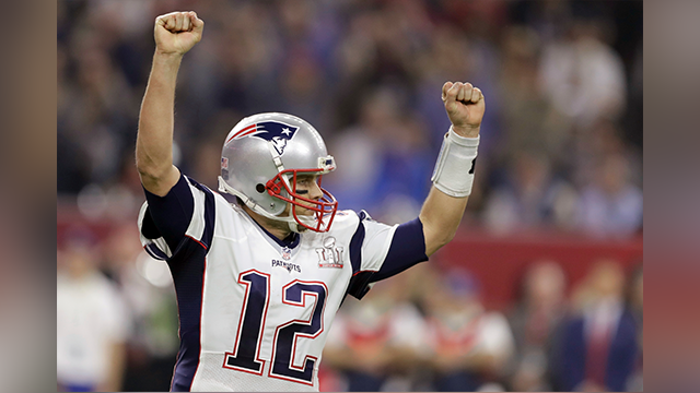 New England Patriots' Tom Brady celebrates a touchdown during the second half of the NFL Super Bowl 51 football game against the Atlanta Falcons, Sunday, Feb. 5, 2017, in Houston. (AP Photo/Darron Cummings)