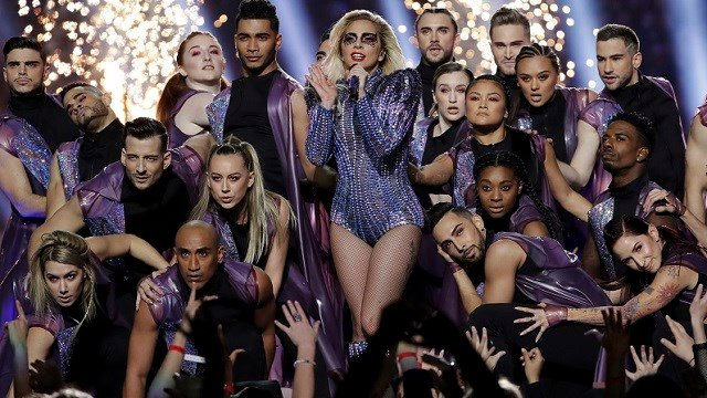 Lady Gaga performs during the halftime show of the NFL Super Bowl 51 football game between the Atlanta Falcons and the New England Patriots Sunday, Feb. 5, 2017, in Houston. (AP Photo/Mark Humphrey)