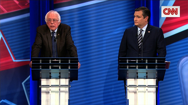 Ted Cruz and Bernie Sanders -- two senators with diametrically opposed views of government's role in health care -- are faced off at a CNN town hall debate over the future of Obamacare.