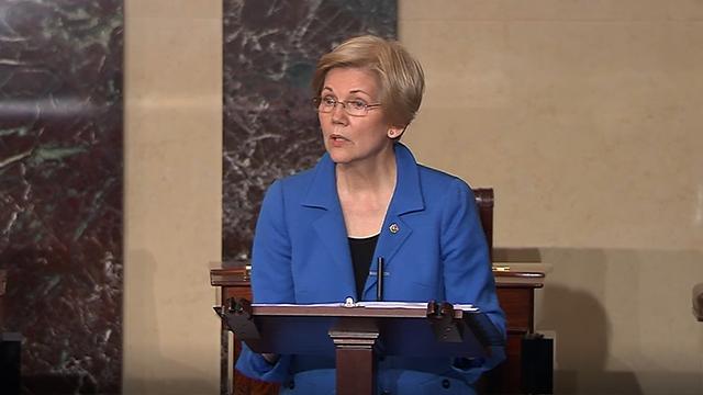 (AP Photo) Sen. Elizabeth Warren, D-Mass., speaks on the floor of the U.S. Senate in Washington, Feb. 7, 2017, about the nomination of Betsy DeVos to be Education Secretary.