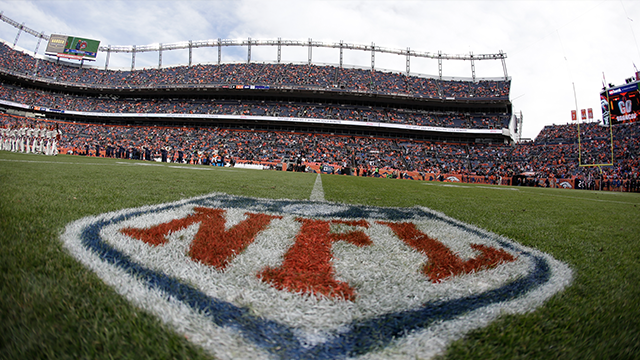 (AP Photo) The NFL shield logo is shown painted on the field at Sports Authority Field at Mile High before an NFL football game between the Denver Broncos and the Oakland Raiders, Sunday, Jan. 1, 2017