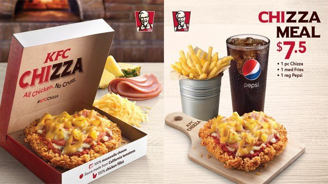 "Most everything tastes like chicken, except pizza. But now, KFC is looking to change that with their new ""Chizza."" (Photo: KFC SG/Twitter)"
