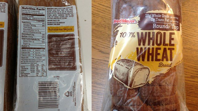 Fred Meyer Stores has recalled the 16 oz  Fred Meyer 100% Whole Wheat Bread sold in its retail stores because the product may contain nonfat dry milk not listed on the label. (Photo: FDA)