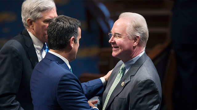 (AP Photo) Health and Human Services Secretary-designate, Tom Price, is greeted by members of the House of Representatives on January 3, 2017.