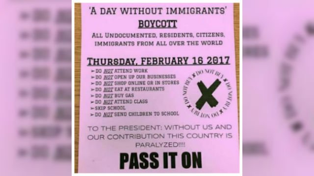 "Organizers in cities across the U.S. are telling immigrants to miss class, miss work and not patronize businesses on Thursday, Feb. 16, 2017 for the ""Day Without Immigrants"" protest. (CNN)"