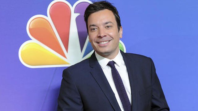 """(Photo by Evan Agostini/Invision/AP, File). FILE - In this May 12, 2014 file photo, """"The Tonight Show"""" host Jimmy Fallon attends the NBC Network 2014 Upfront presentation at the Javits Center in New York."""