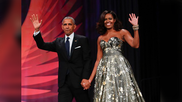 (AP Photo/Pablo Martinez Monsivais, File). FILE - This Sept. 17, 2016 file photo shows President Barack Obama and first lady Michelle Obama at the Congressional Black Caucus Foundation's 46th Annual Legislative Conference Phoenix Awards Dinner in Washi...