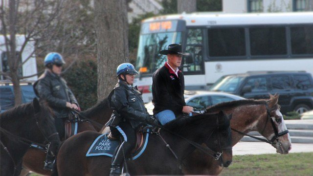Interior Secretary Ryan Zinke (ZIN'-kee) arrived on horseback for his first day of work Thursday. (Photo: Twitter/BSEE)