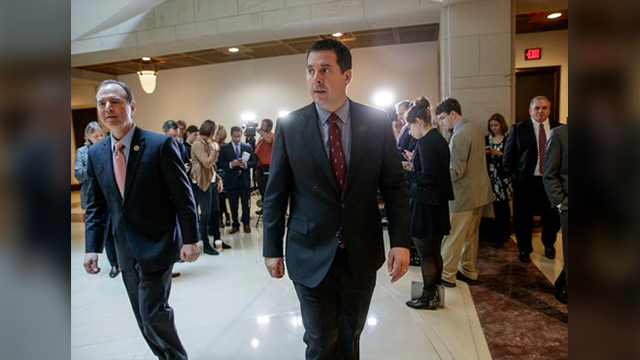 (AP Photo/J. Scott Applewhite). House Intelligence Committee Chairman Rep. Devin Nunes, R-Calif., right, and the committee's ranking member Rep. Adam Schiff, D-Calif., leave after talking to reporters on Capitol Hill in Washington, Thursday, March 2, 2...