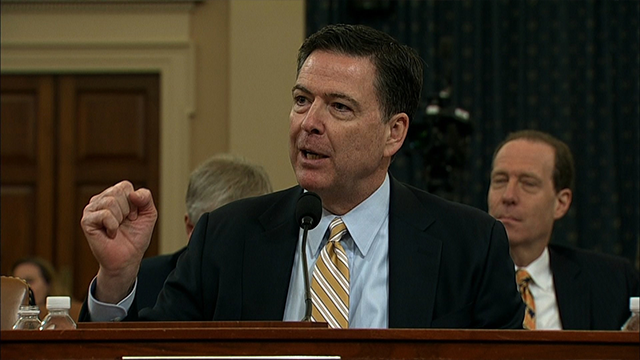 (Source:CNN) FBI Director James Comey testifies before the House Intelligence Committee on March 20, 2017 about President's Trump wiretapping claims and Trump's presidential campaign links to Russian hackers.