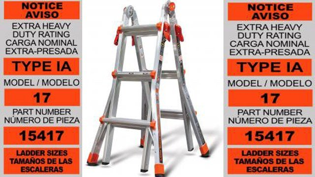 Wing Enterprises is recalling their Little Giant multipurpose ladders after discovering the locking pins/rung fasterners can fail, posing a fall hazard to consumers on the ladder. (Photo: U.S CPSC)
