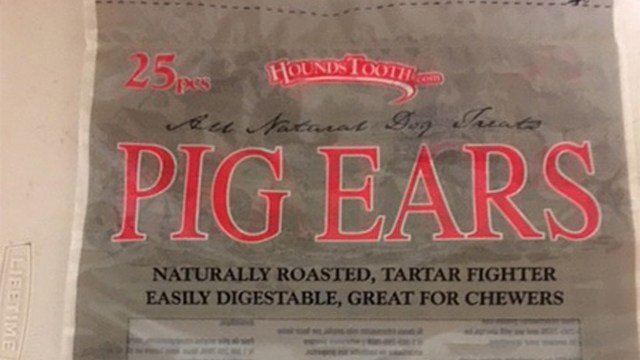 EuroCan Manufacturing is voluntarily recalling Lot Number 84 consisting of it's individually shrink-wrapped, 6-pack, 12-pack and 25-pack bags of Barnsdale Farms®, HoundsTooth® and Mac's Choice® Pig Ears.