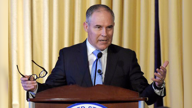 (AP Photo/Susan Walsh, File). FILE- In this Feb. 21, 2017, file photo, Environmental Protection Agency (EPA) Administrator Scott Pruitt speaks to employees of the EPA in Washington. The Oklahoma Bar Association has opened an investigation into an ethic...