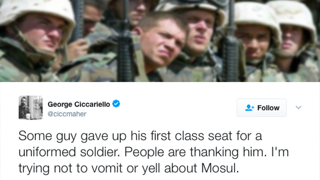 Professor says 'trying not to vomit' after soldier gets seat