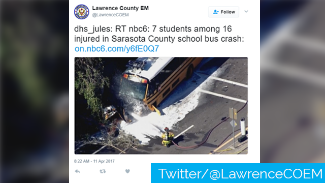 Fiery school bus crash closes Sarasota roads