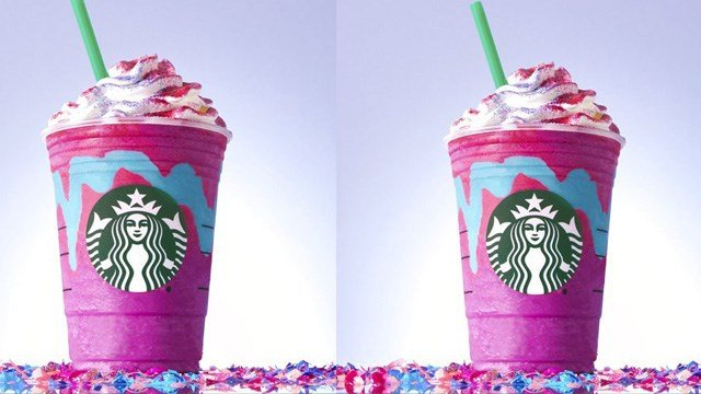 "(Starbucks via AP). This photo provided by Starbucks shows the company's ""Unicorn Frappuccino."" Starbucks says its newest beverage not only changes colors with a stir of the straw, but flavors as well."