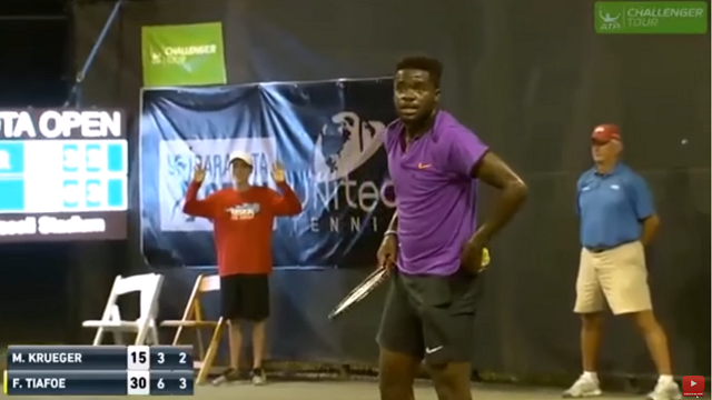Frances Tiafoe reacts to the sound of people having sex during his match Tuesday. (Source: ATP/YouTube)