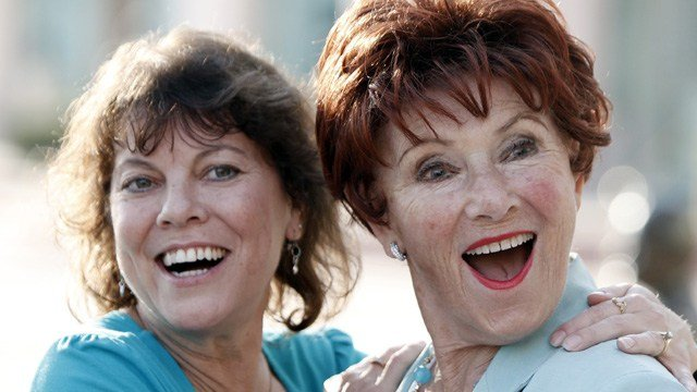 """Actresses Erin Moran, left, and Marion Ross pose together at the Academy of Television Arts and Sciences' """"A Father's Day Salute to TV Dads"""" in the North Hollywood section of Los Angeles on Thursday, June 18, 2009. (AP Photo/Matt Sayles)"""