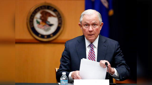 (AP file Photo/Alex Brandon). In this April 18, 2017 file photo Attorney General Jeff Sessions prepares to speak before a meeting of the Attorney General's Organized Crime Council and Organized Crime Drug Enforcement Task Forces (OCDETF) Executive Comm...
