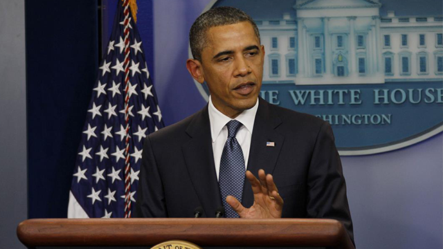 President Obama is still pushing on Friday, July 22, 2011 to 'go big' on debt deal even though he is facing resistance from his own party. This is a file photograph - President Obama talks to the White House Press Corps in the WHBR about the progress...
