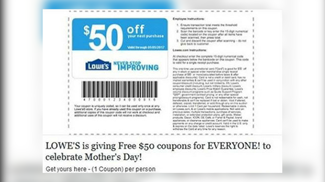 Consumer alert: Lowe's coupon scam on Facebook