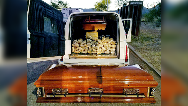 67 pounds of pot found in casket after hearse stopped near Tombstone