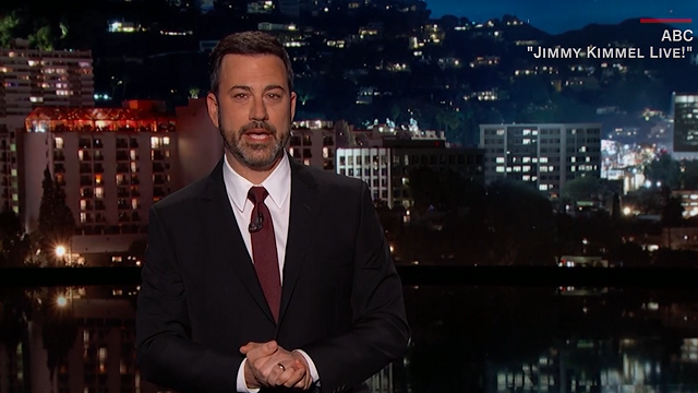 "Late night host Jimmy Kimmel tells an impassioned story about his newborn son's battle with heart disease. (Source: CNN, ABC/""Jimmy Kimmel Live"")"