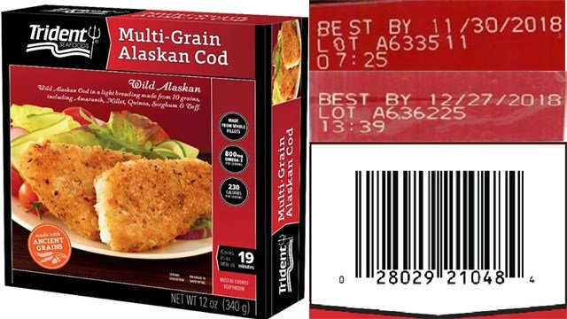 Trident Seafoods Corporation is issuing a voluntary recall of select lots of frozen Multi-Grain Alaskan Cod, Net Wt. 12, oz., because they may contain small pieces of plastic. (Photo: FDA)