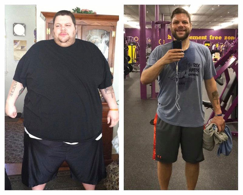 In this combination photo of images provided by Ronnie Brower, Brower is seen before and after losing 458 pounds. (Ronnie Bower via AP)