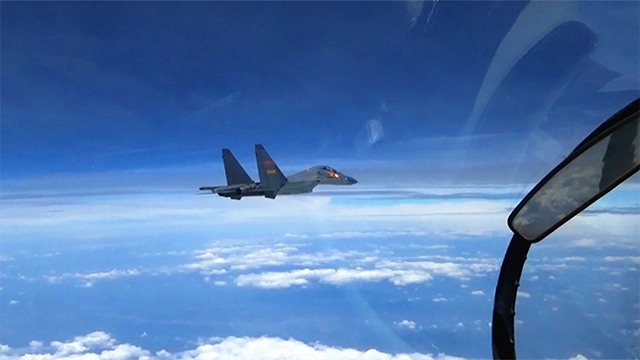 "(Gao Yiping/Xinhua via AP) The Chinese Su-30 fighter jets were said to have conducted an ""unprofessional"" intercept over the Yellow Sea Wednesday, a US official said."