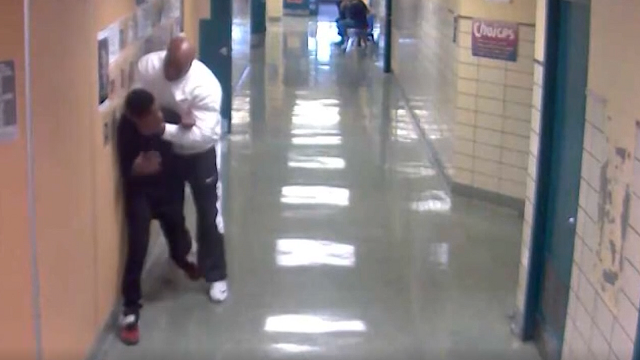 Cameras inside the Rankin Promise alternative school captured video of Joseph Golden III, 50, lifting the 13-year-old boy off the ground on April 12. (Source: WTAE via CNN)