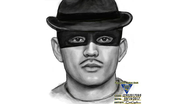 This May 19, 2017 sketch provided by the Belleville New Jersey Police Department shows a burglar police are looking for who wore a fedora and thin mask over his eyes when he broke into a home. (Belleville New Jersey Police Department via AP)