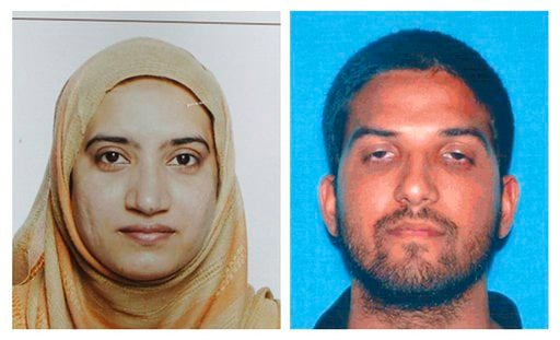 (FBI, left, and California Department of Motor Vehicles via AP, File). FILE - This undated combination of file photos provided by the FBI, left, and the California Department of Motor Vehicles shows Tashfeen Malik, left, and Syed Farook. Authorities ha...