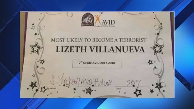 Texas teacher awarded 7th grader with 'most likely to become a terrorist' certificate