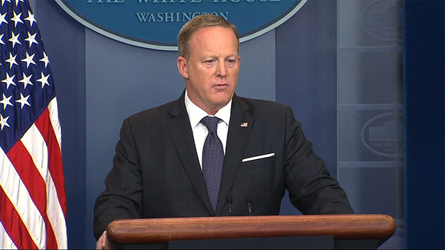 (Source: CNN) Sean Spicer is seen here speaking during the White House press briefing on May 30, 2017.