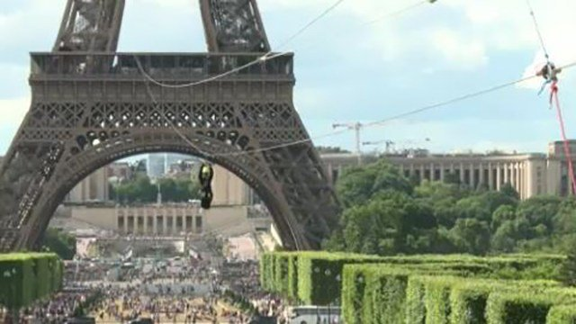 Visitors and locals in Paris have been zip-lining from the second floor of the iconic Eiffel Tower on Monday. (Photo: AP)