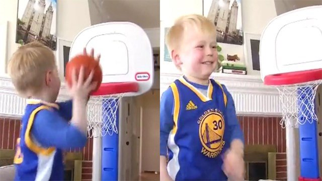 There are no age restrictions to be a member of the Golden State Warriors dub nation. In fact, we may have found the youngest super-fan of the team ever, who one day could be an NBA star! (Photo: CNN)