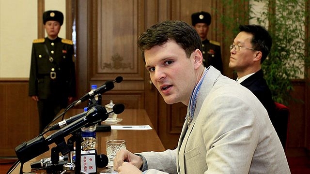 (AP Photo/Kim Kwang Hyon, File) FILE – In this Feb. 29, 2016, file photo, American student Otto Warmbier speaks as Warmbier is presented to reporters in Pyongyang, North Korea. North Korea announced Warmbier's detention Jan. 22, 2016...
