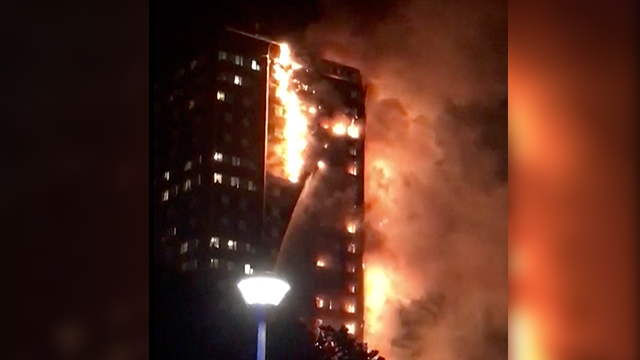 (Celeste Thomas @MAMAPIE via AP) In this image made from video provided by Celeste Thomas @MAMAPIE, a building is on fire in London, Wednesday, June 14, 2017.