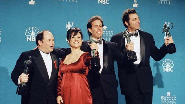"""On """"Seinfeld,"""" George (Jason Alexander, left) often lied about being an architect or named 'Art Vandeley.' Other than inspiring the operation's name, the cast had nothing to do with the alleged crime. (AP Photo/Chris Pizzello)"""
