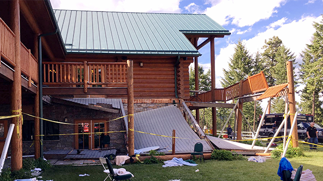 Authorities now say more than 30 people were taken to hospitals after the second-story deck of a Montana lodge collapsed during a memorial event for a firefighter. About 50 people were gathered to remember William Nickel. (Lakeside Fire Department via AP)