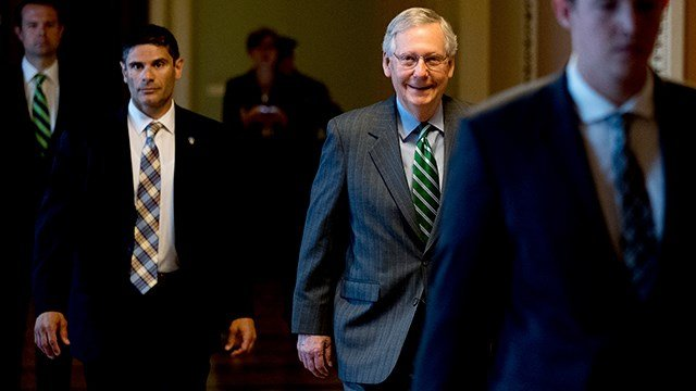 Senate Majority Leader Mitch McConnell of Ky. arrives on Capitol Hill in Washington, Thursday, June 22, 2017, as Senate Republicans work on a health reform bill. (AP Photo/Andrew Harnik)